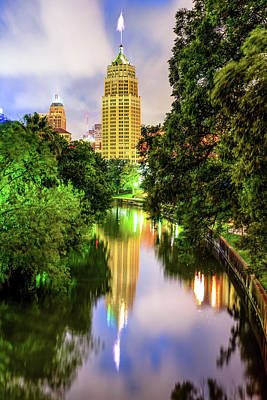Photograph - San Antonio Texas Skyline Along The River by Gregory Ballos