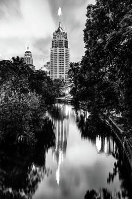 Photograph - San Antonio Texas Skyline Along The River - Monochrome by Gregory Ballos
