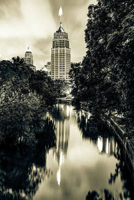 Photograph - San Antonio Texas Skyline Along The River - Sepia by Gregory Ballos