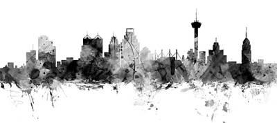 Digital Art - San Antonio Texas Skyline Panoramic by Michael Tompsett