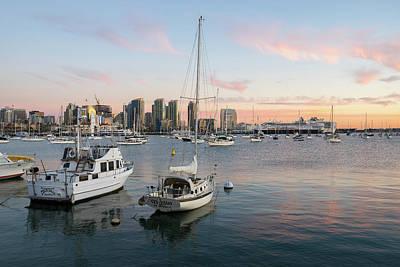 Tool Paintings - San Diego North Harbor At Sunset by Robert VanDerWal
