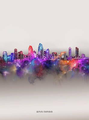 Digital Art - San Diego Skyline Galaxy by Bekim M