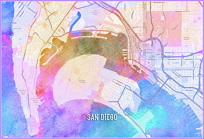 Digital Art - San Diego Street Map by Gary Grayson