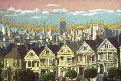 Painting - San Francisco Alamo Square - Color Illustration Drawing by Peter Potter