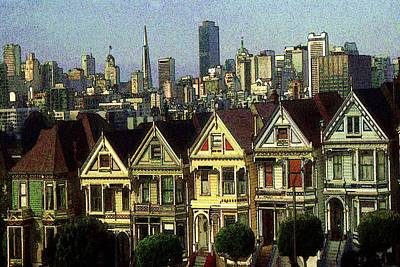 Drawing - San Francisco Alamo Square Painting by Peter Potter