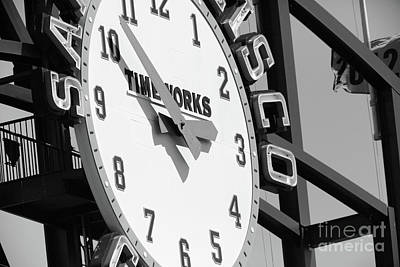 Photograph - San Francisco Giants Baseball Scoreboard And Clock 5d28233 Bw by Wingsdomain Art and Photography