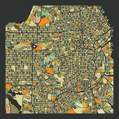 San Francisco Wall Art - Digital Art - San Francisco Map 2 by Jazzberry Blue