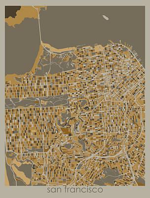 Winter Animals - San Francisco Map Retro 4 by Bekim M
