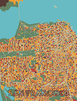 Royalty-Free and Rights-Managed Images - San Francisco Map Retro by Bekim M