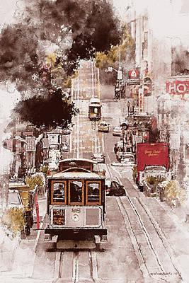 Painting - San Francisco, Panorama - 06 by Andrea Mazzocchetti