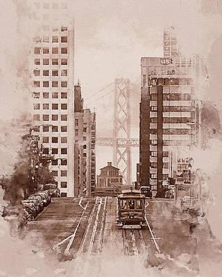 Painting - San Francisco, Panorama - 07 by Andrea Mazzocchetti