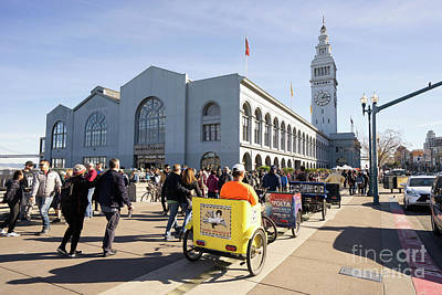 Photograph - San Francisco Rickshaw Pedicab Brigade At The Ferry Building  On The Embarcadero Dsc6764 by Wingsdomain Art and Photography