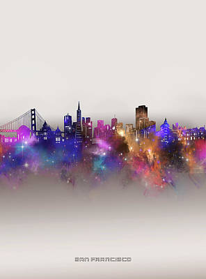 Digital Art - San Francisco Skyline Galaxy by Bekim M