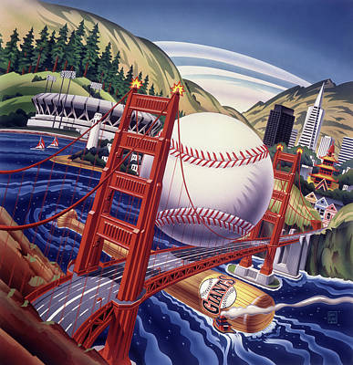 Sports Paintings - San Fransisco Giants Golden Gate Bridge by Garth Glazier