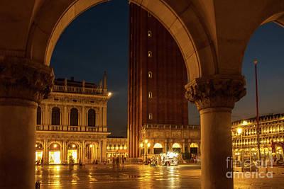 Photograph - San Marco At Night. Blurred Background by Marina Usmanskaya