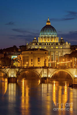 Photograph - San Pietro Dome At Night by Brian Jannsen
