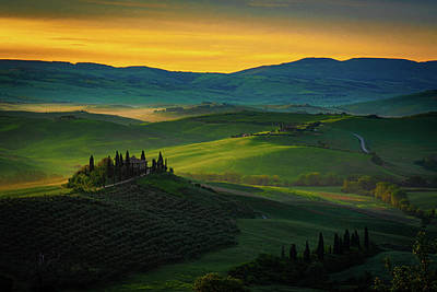 Photograph - San Quirico D' Orcia At Sunrise by Chris Lord