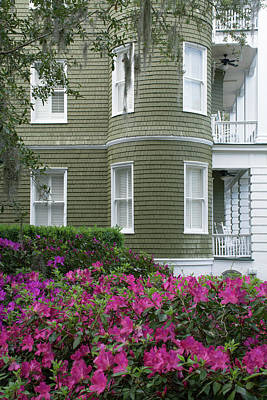 Photograph - San Souci Cottage And Pink Azaleas On Jekyll Island by Bruce Gourley