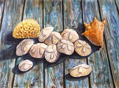 Painting - Sand Dollars And Shell by Katerina Kovatcheva