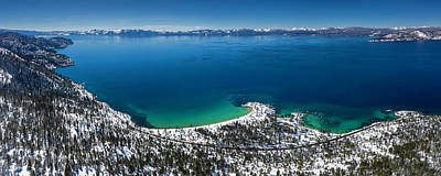 Photograph - Sand Harbor Winter Aerial Panorama by Brad Scott