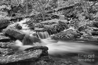 Photograph - Sanderson Brook Falls Stream Black And White by Adam Jewell