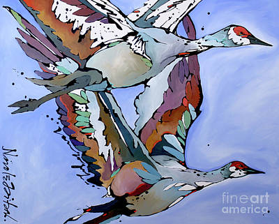 Painting - Sandhill Flyers  by Nicole Gaitan