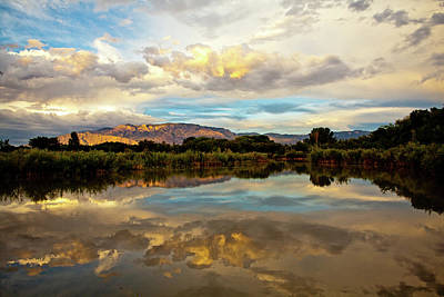 Photograph - Sandia Mountains Reflection by Howard Holley