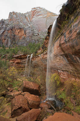 Sandstone Photograph - Sandstone Cliff And Waterfalls, Zion by Eastcott Momatiuk