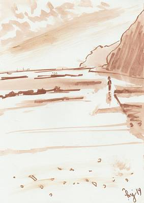 Drawing - Sandy Bay Beach In Devon Sketch by Mike Jory