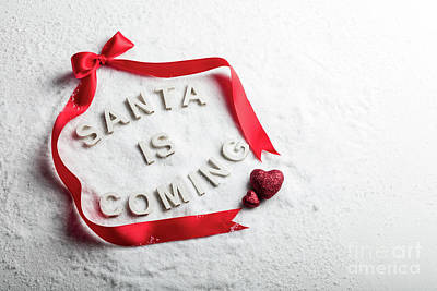Photograph - Santa Is Coming Text And Red Ribbon by Michal Bednarek