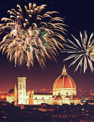 Santa Maria Del Fiore Dome In Florence Art Print by Franckreporter