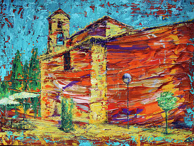 Landmarks Painting Royalty Free Images - Santa Maria del Monte Carmelo Church in Salamanca, Spain  Royalty-Free Image by Denys Kuvaiev