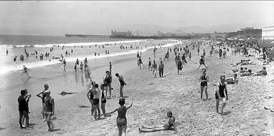 Photograph - Santa Monica Beach Circa 1920 by John Rodrigues