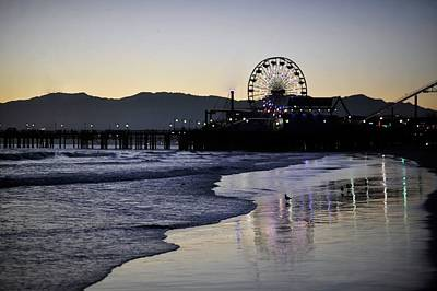 Photograph - Santa Monica Pier With Waves by Stephen Albanese