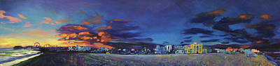 Painting - Santa Monica Sunset Panorama by Bonnie Lambert