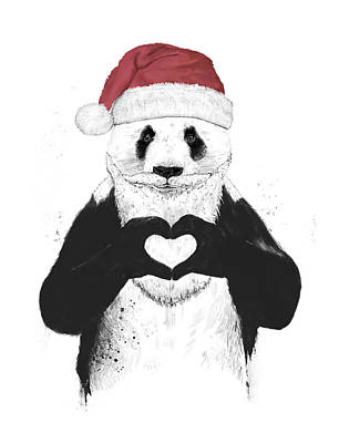 Funny Mixed Media - Santa Panda by Balazs Solti