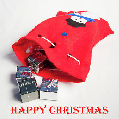 Photograph - Santa Sack - Happy Christmas by Helen Northcott