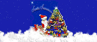 Belinda Landtroop Royalty-Free and Rights-Managed Images - Santa Sparkles Snowman by Belinda Landtroop