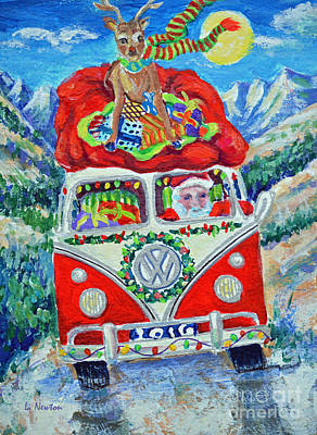 Painting - Santa Stole My Van by Li Newton