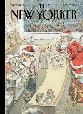 Drawing - Santa's Little Helper by John Cuneo