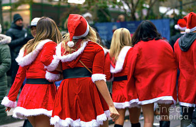 Photograph - Santa's Naughty Helpers In New York City by John Rizzuto