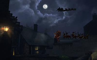 Digital Art - Santas by Walter Chamberlain