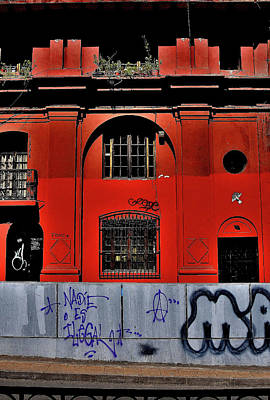 Photograph - Santiago - Architecture Red by Jeremy Hall