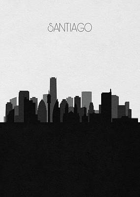 Digital Art - Santiago Cityscape Art by Inspirowl Design