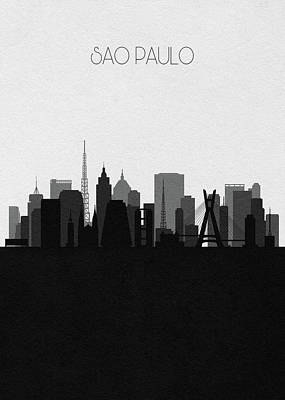 Digital Art - Sao Paulo Cityscape Art by Inspirowl Design