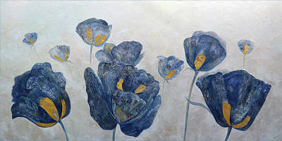 Zodiac Posters - Sapphire Poppies by Shadia Derbyshire