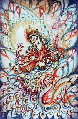Music Paintings - Sarswati - divine  by Harsh Malik