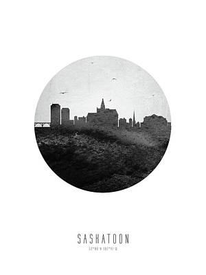 Digital Art - Saskatoon Skyline CASKSA04 by Aged Pixel