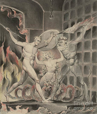 Painting - Satan Comes To The Gates Of Hell by William Blake