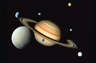 Photograph - Saturn And Satellites by John Foxx